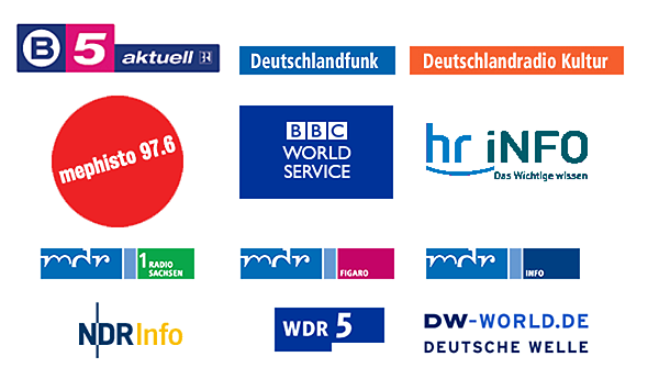 Deutschlandfunk, DeutschlandRadio Kultur, DRadioWissen, MDR Info, MDR Figaro, WDR5, BBC World Service, Deutsche Welle NDR Info, B5 aktuell, Spiegel Online