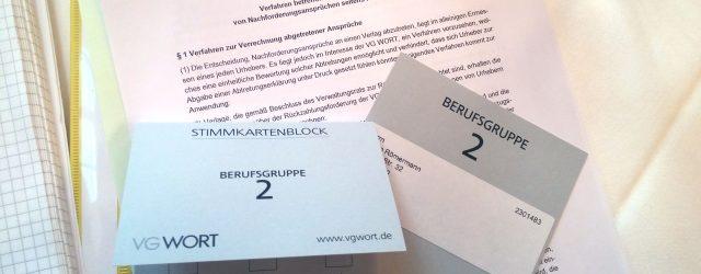 Abstimmungskarten für die Marathon-Sitzung bei der VG Wort in München. Foto: SR