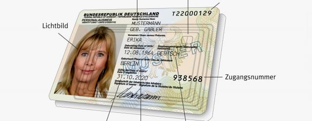 Muster eines Personalausweises von der Seite personalausweisportal.de