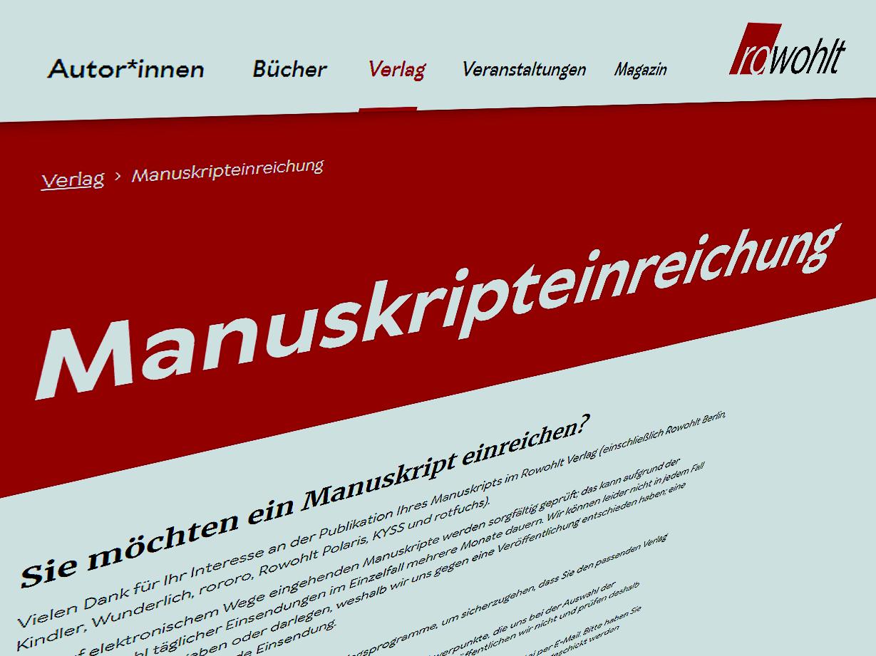 Webseite eines Verlages mit Informationen zum Einreichen von Manuskripten. Screenshot SR